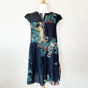 Sandro | Tropical Floral Print Silk Dress